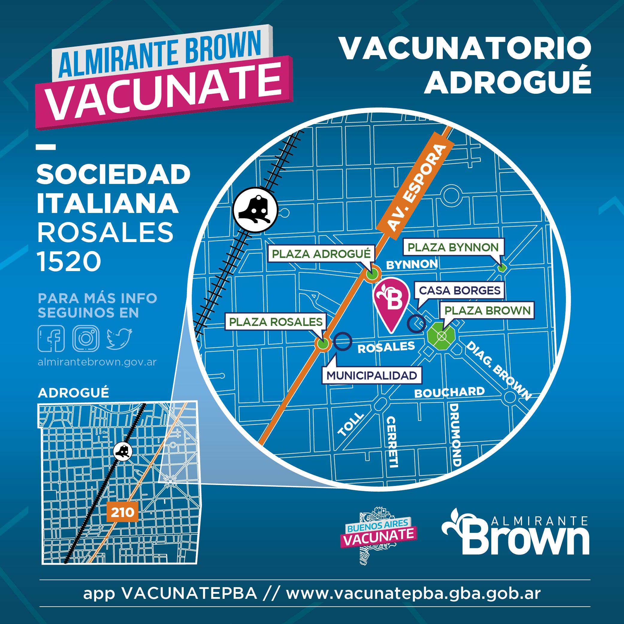 Mapa vacunatorio en Adrogué