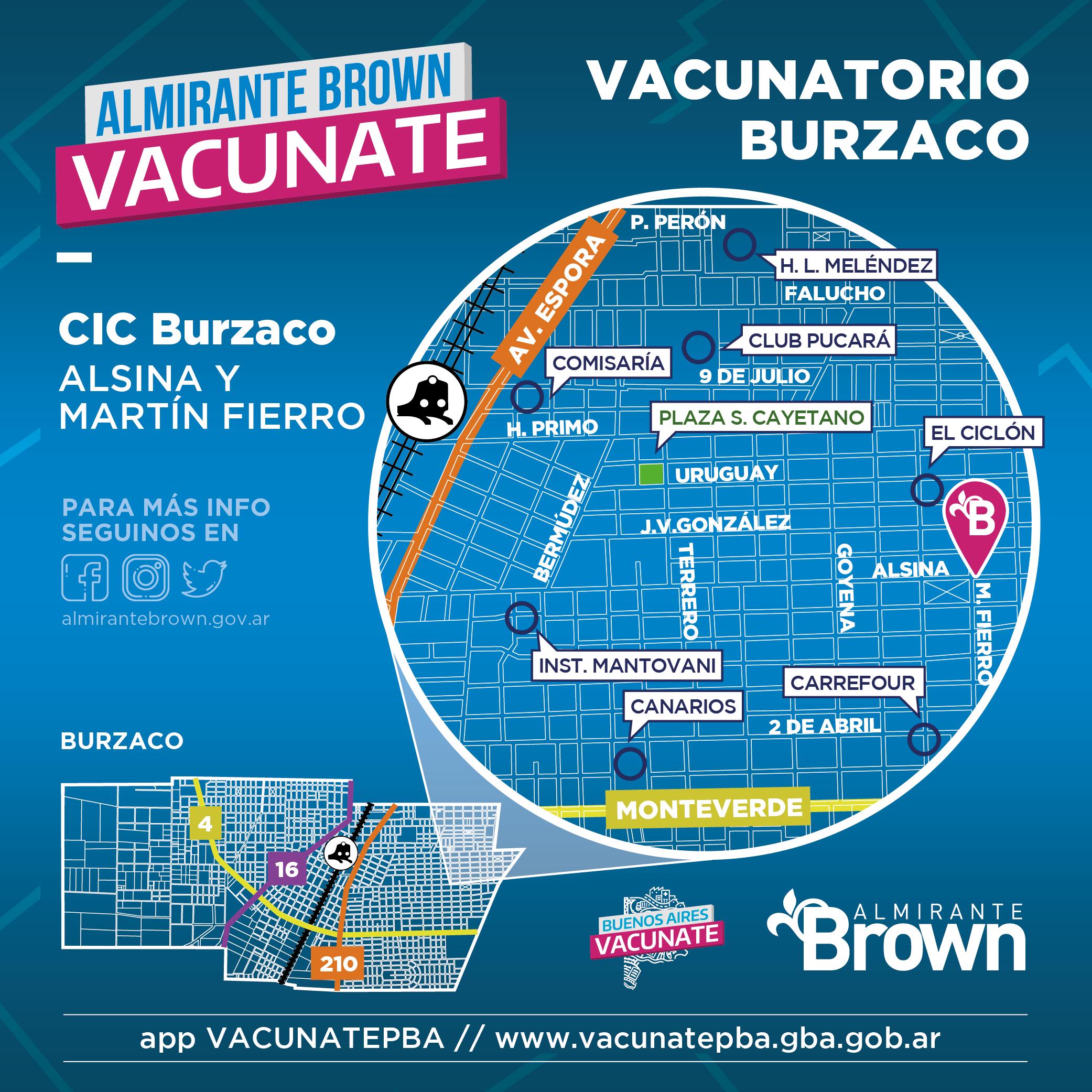 Mapa vacunatorio en Burzaco