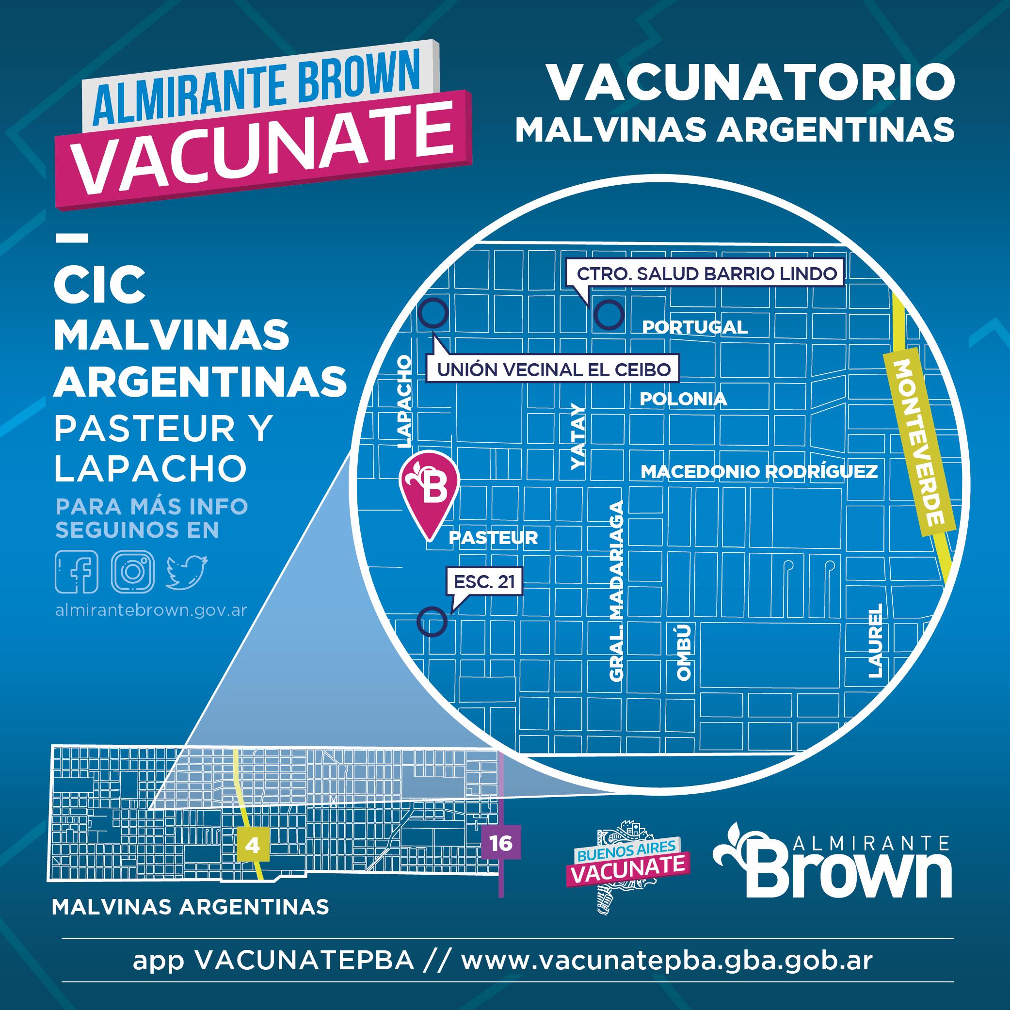 Mapa vacunatorio en Malvinas Argentinas