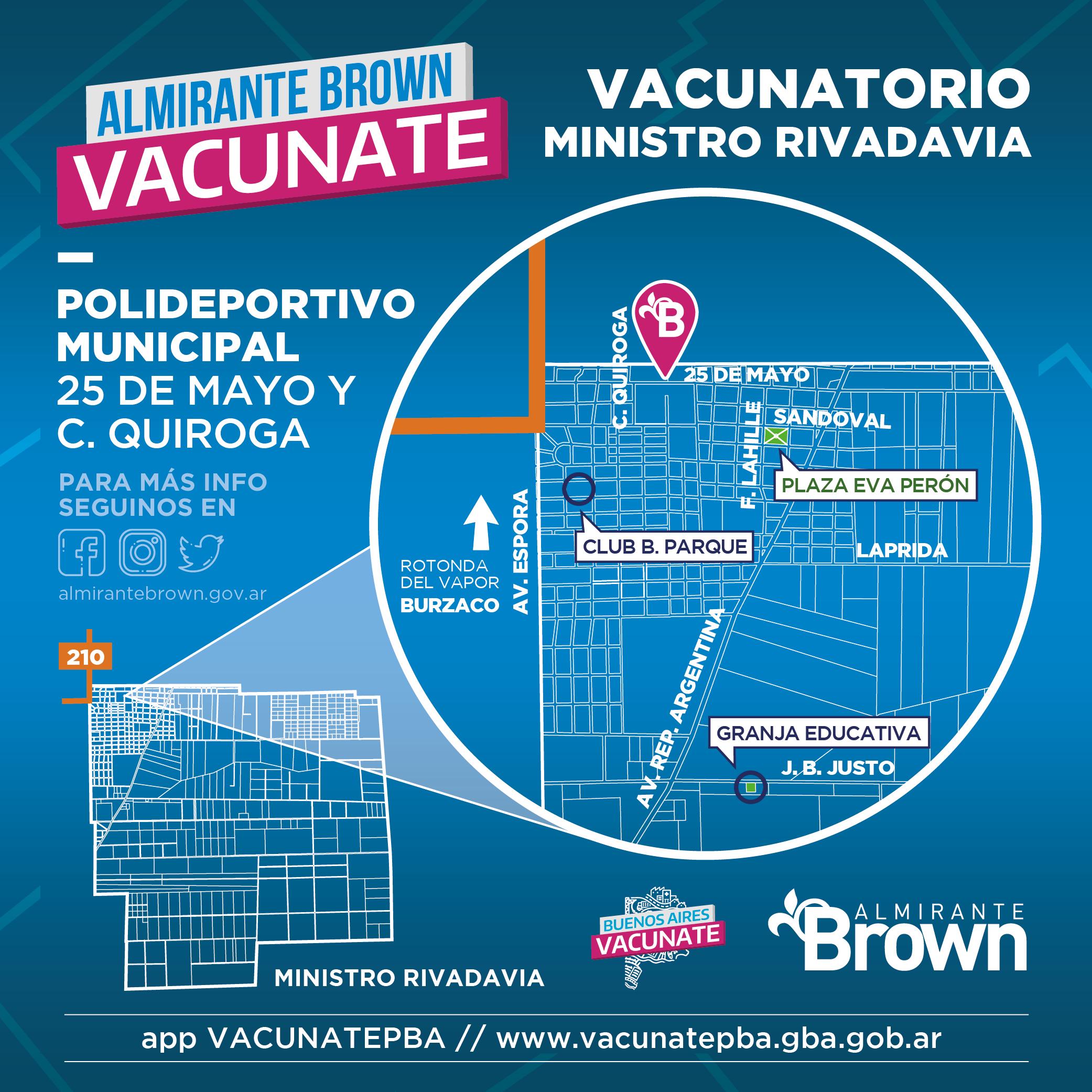 Mapa vacunatorio en Ministro Rivadavia